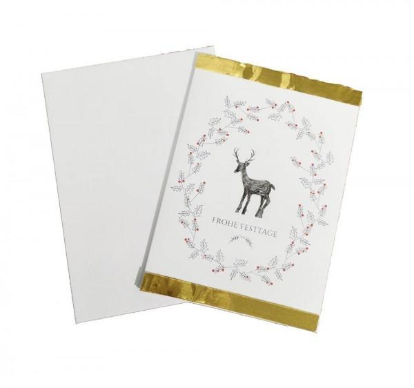 Weihnachtskarte Frohe Festtage mit Couvert