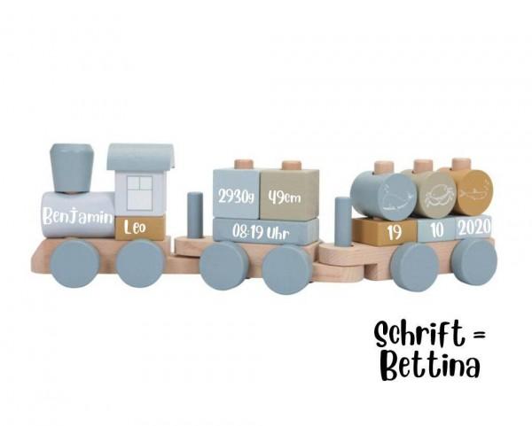 Holzzug personalisiert Blau Ocean mit Steckformen