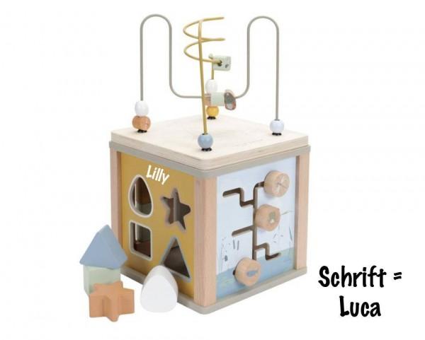 Holz Aktivitäten-Würfel personalisiert grün Little Goose