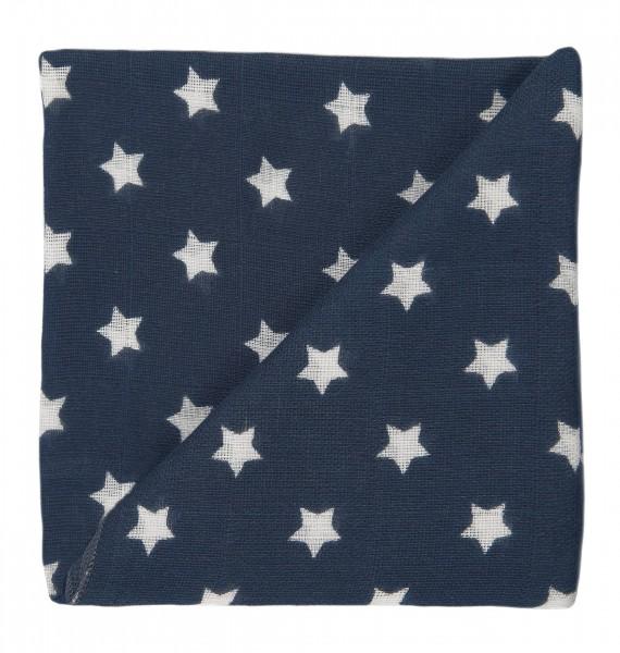 ZEWI-Baby-Gaze anthrazit Sterne bedruckt Nuscheli