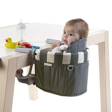 Tischsitz gestreift grau-weiss