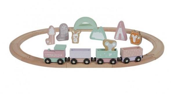 Holz-Eisenbahn mit Schienen adventure pink