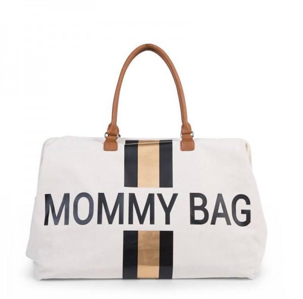 Mommy Bag Canvas Off White Streifen Schwarz/Gold