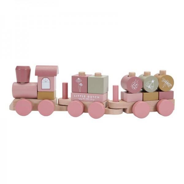 Holzzug mit Steck-Formen pink Wildblumen