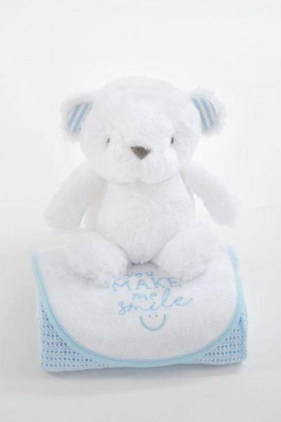 Geschenkset Bär blau 70x90