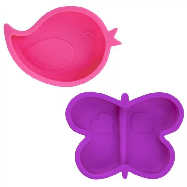 2 kleine Silikonschalen mit Saugnapf pink-violett
