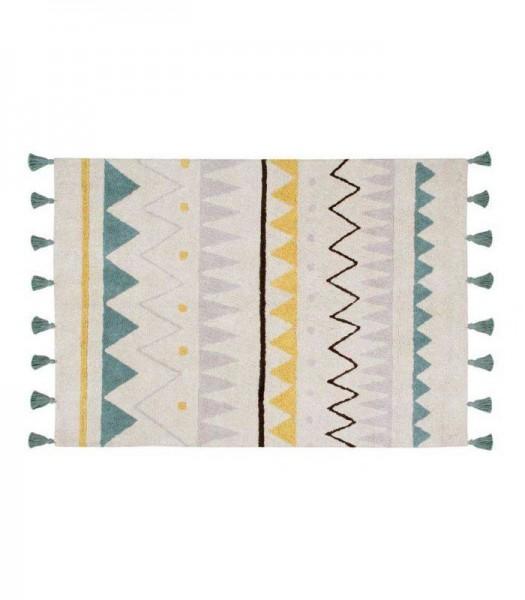 Azteca Natural Vintage Blue Baumwollteppich