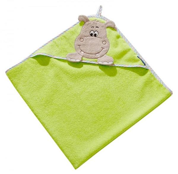 Kapuzentuch 100x100 cm Hippo grün