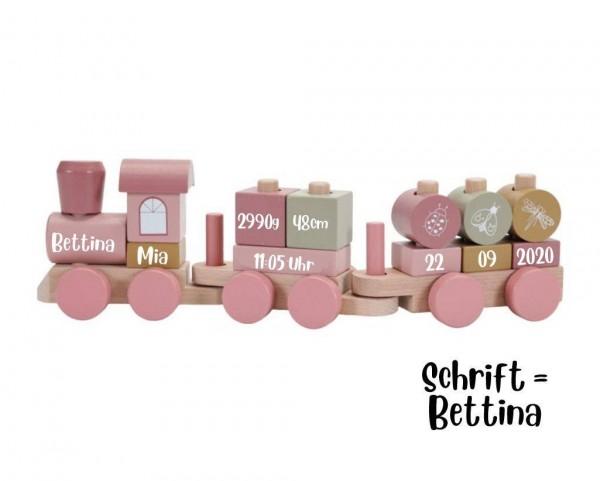 Holzzug personalisiert Pink mit Steckformen