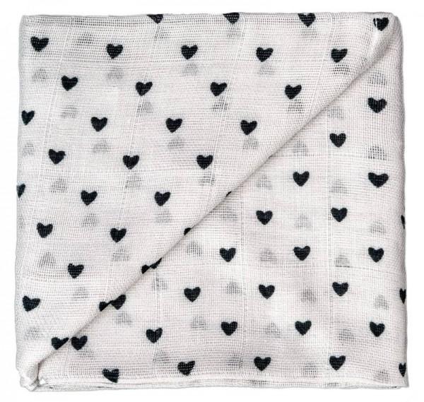 ZEWI-Baby-Gaze Herzen grau bedruckt Nuscheli