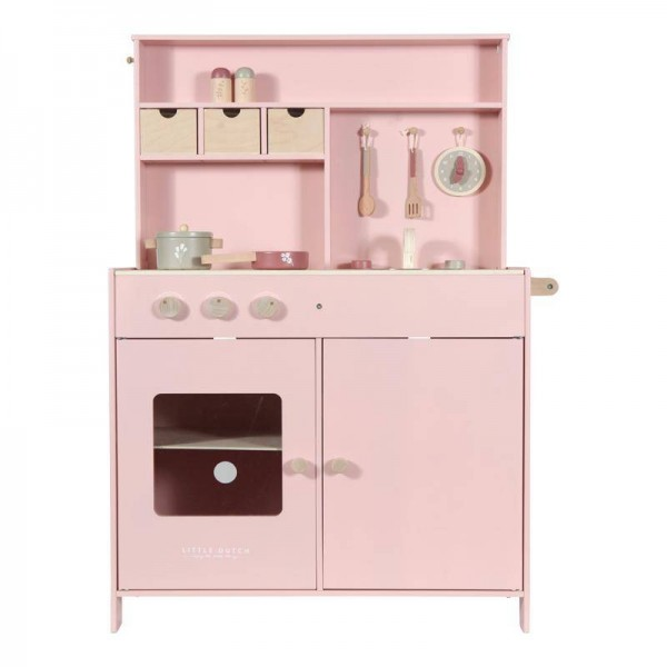 Kinderspielküche aus Holz pink