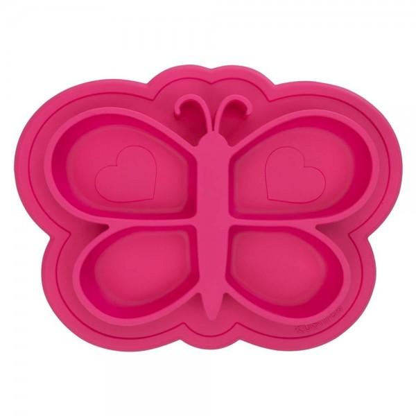 Silikonteller pink Schmetterling