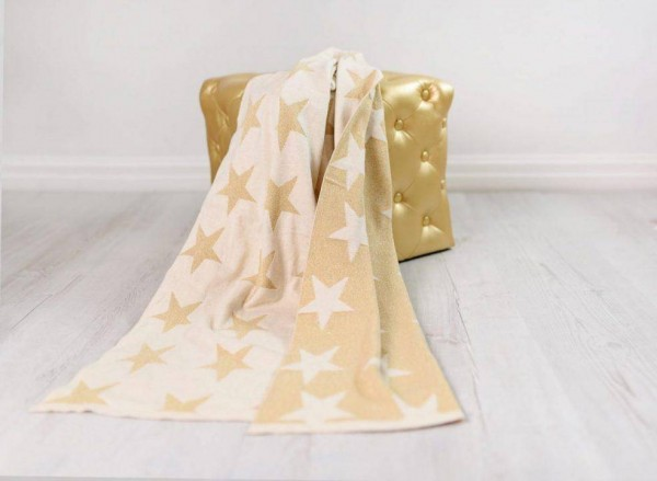 Strickdecke Sterne gold 75x100