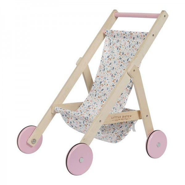 Holz Puppenwagen / Buggy Spring Flowers