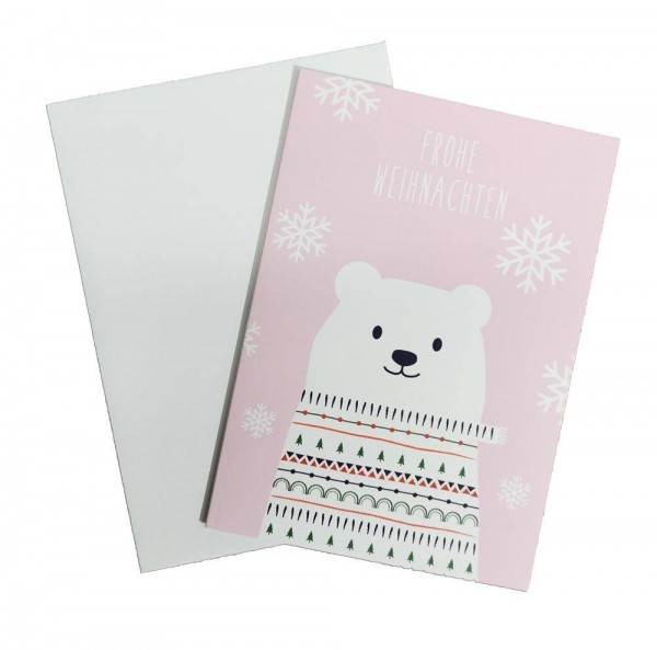 Weihnachtskarte Bär rosa mit Couvert