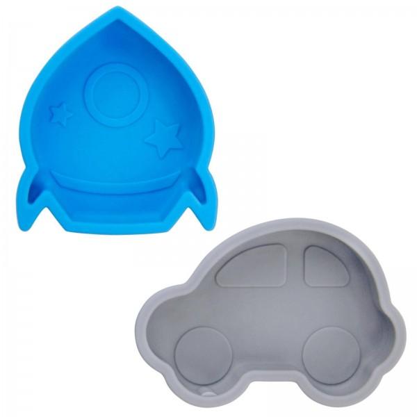 2 kleine Silikonschalen mit Saugnapf blau-grau