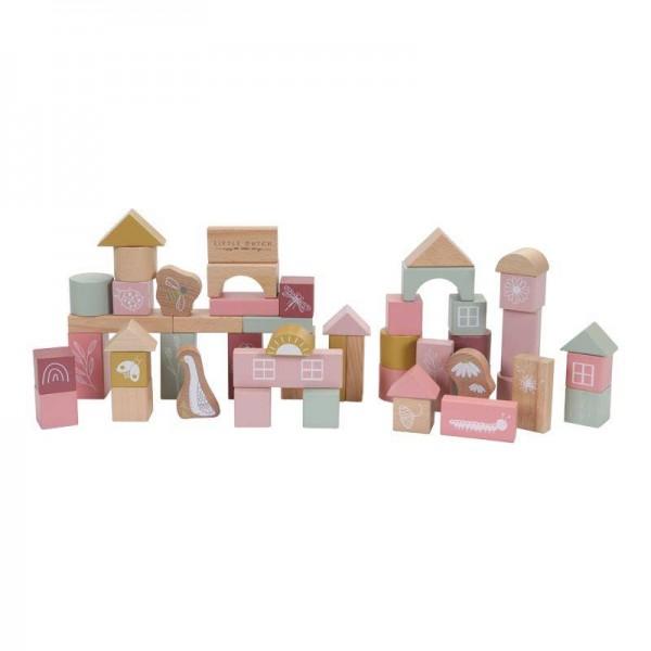 Holzbausteine in Box pink 50 Stk