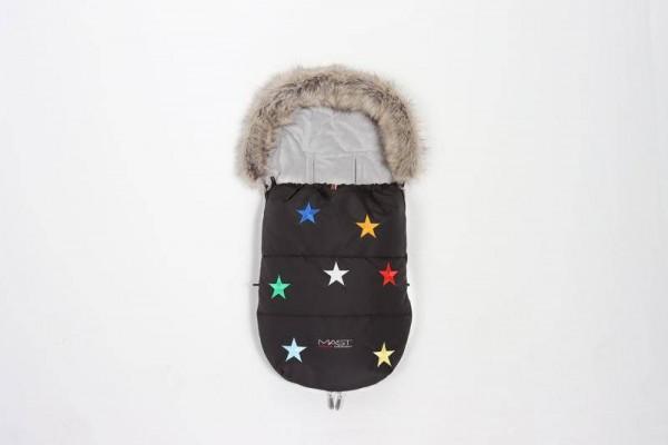 Fusssäckchen Sterne gestickt mit Fell black