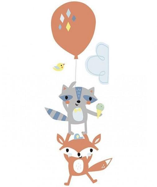 XL Sticker Fox & Racoon fly away