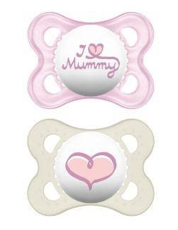 2 Original 0-6 I love Mummy rosa Silikonnuggi