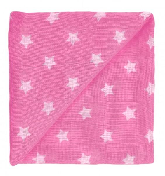 ZEWI-Baby-Gaze bedr. pink Sterne