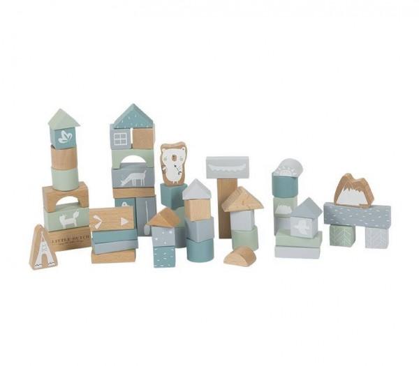 Holzbausteine in Box adventure blue