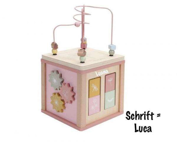 Holz Aktivitäten-Würfel personalisiert pink