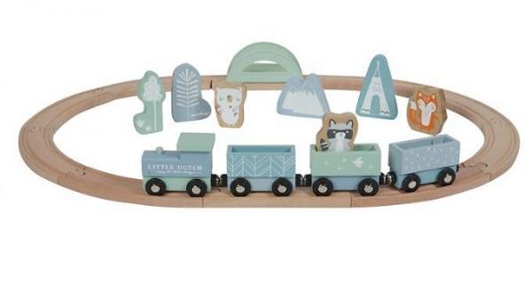 Holz-Eisenbahn mit Schienen adventure blue