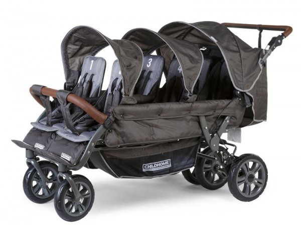 Sechs-Sitzer Kinderwagen anthrazit inkl. Regenschutz
