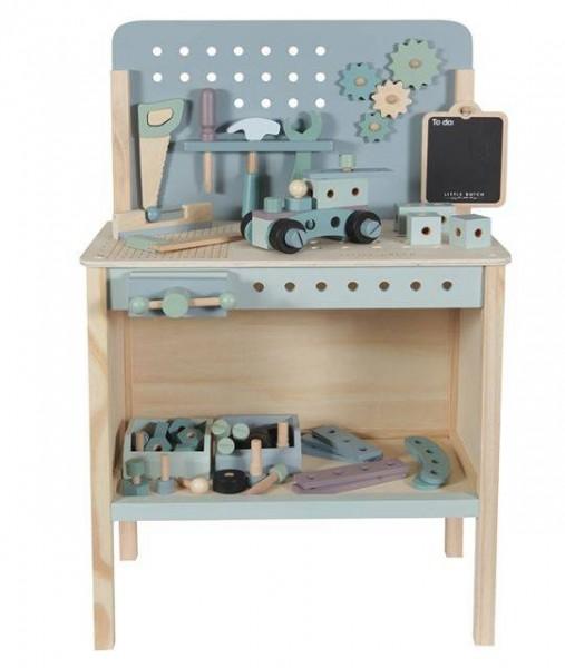 Spielwerkbank aus Holz mit Werkzeuggürtel