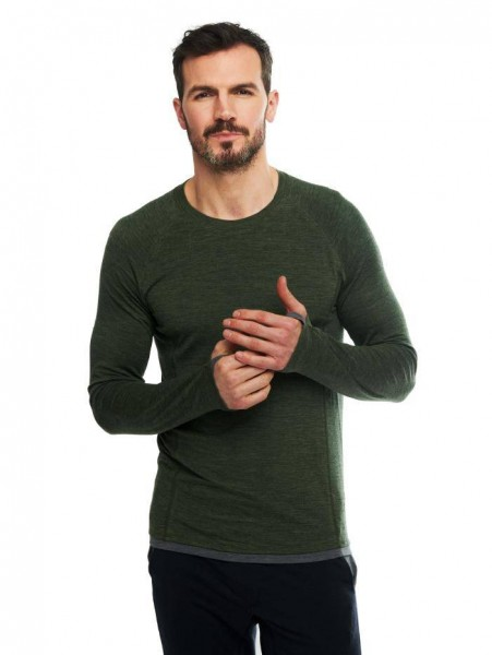 Men L Langarmshirt pine green stay warm