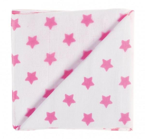 ZEWI-Baby-Gaze weiss/pink Sterne bedruckt Nuscheli
