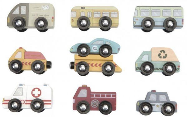 Autos aus Holz für Zug-Sets 9 Stk