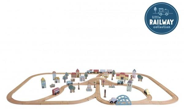 Zug-Set City aus Holz